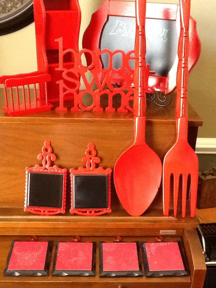 SALE Red And Black Kitchen Decor Set By SheriChic On Etsy