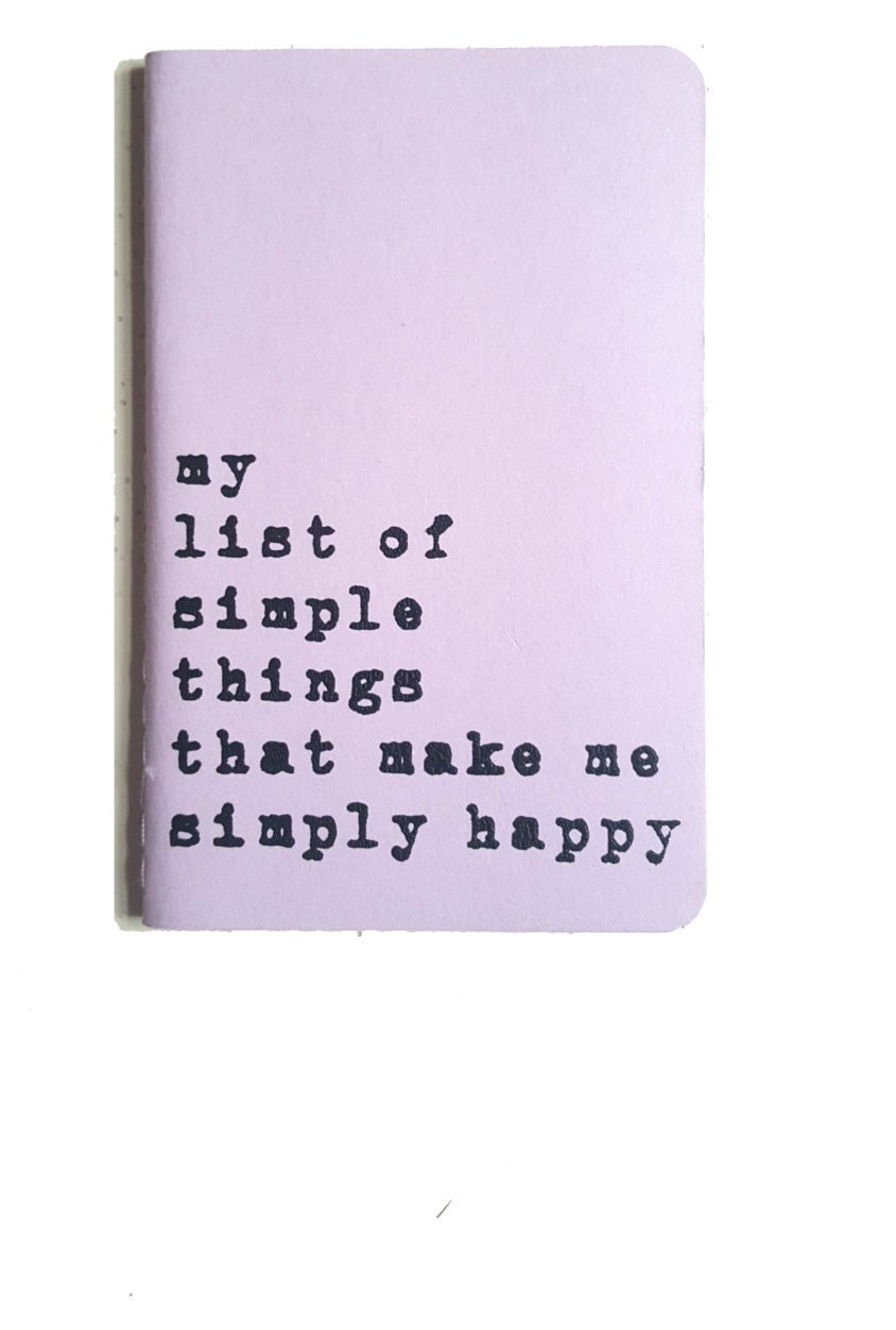 Mothers Day gift   Uplifting MOLESKINE notebook my list of simple things that make me simply happy think positive!