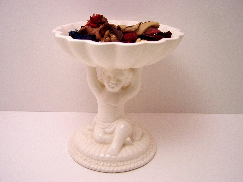 Vintage Cherub Pedestal Bowl By Avon China By