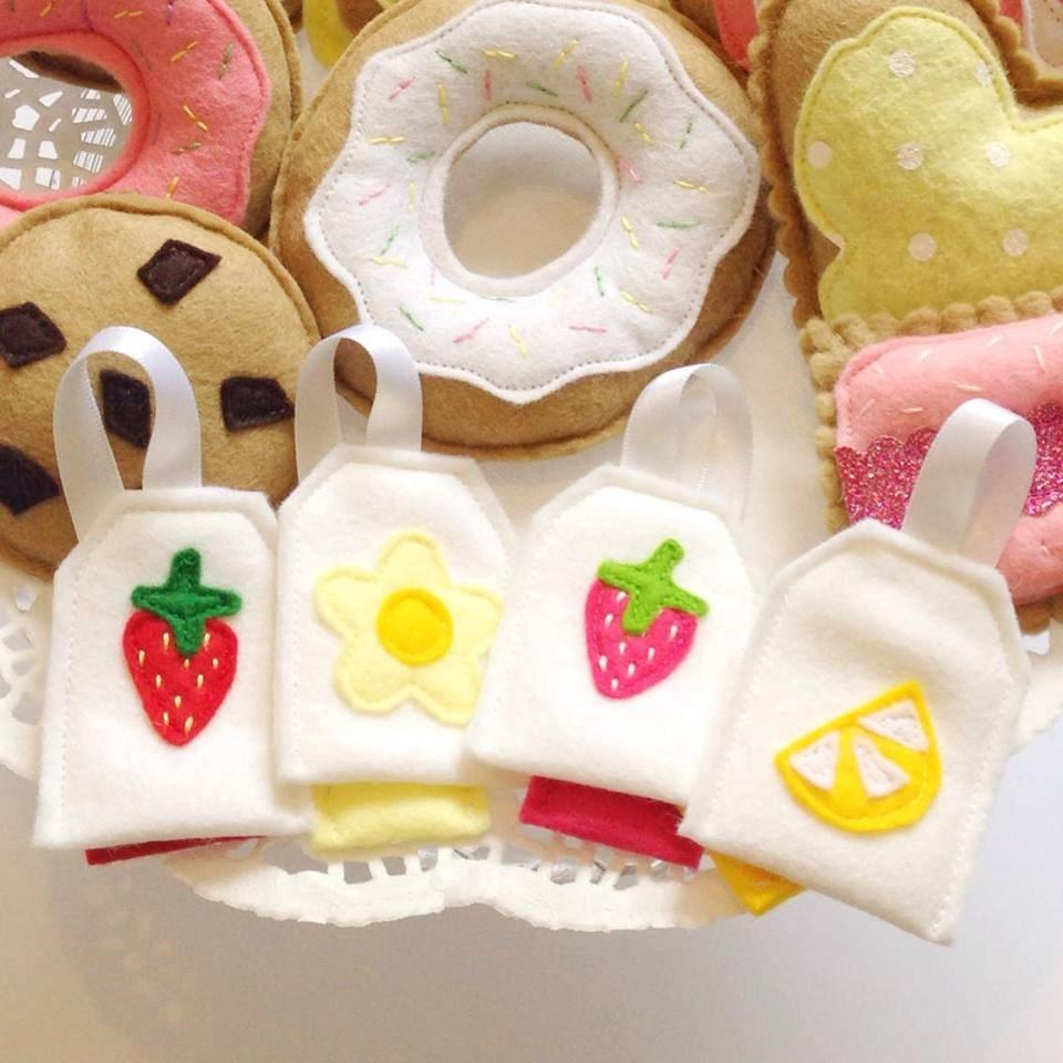 Felt Tea Bags Felt pretend play food Felt Food Pretend Play Food Kids Tea Party