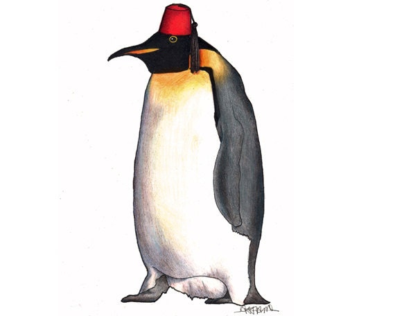 Penguin in a Fez - A4 archival quality print