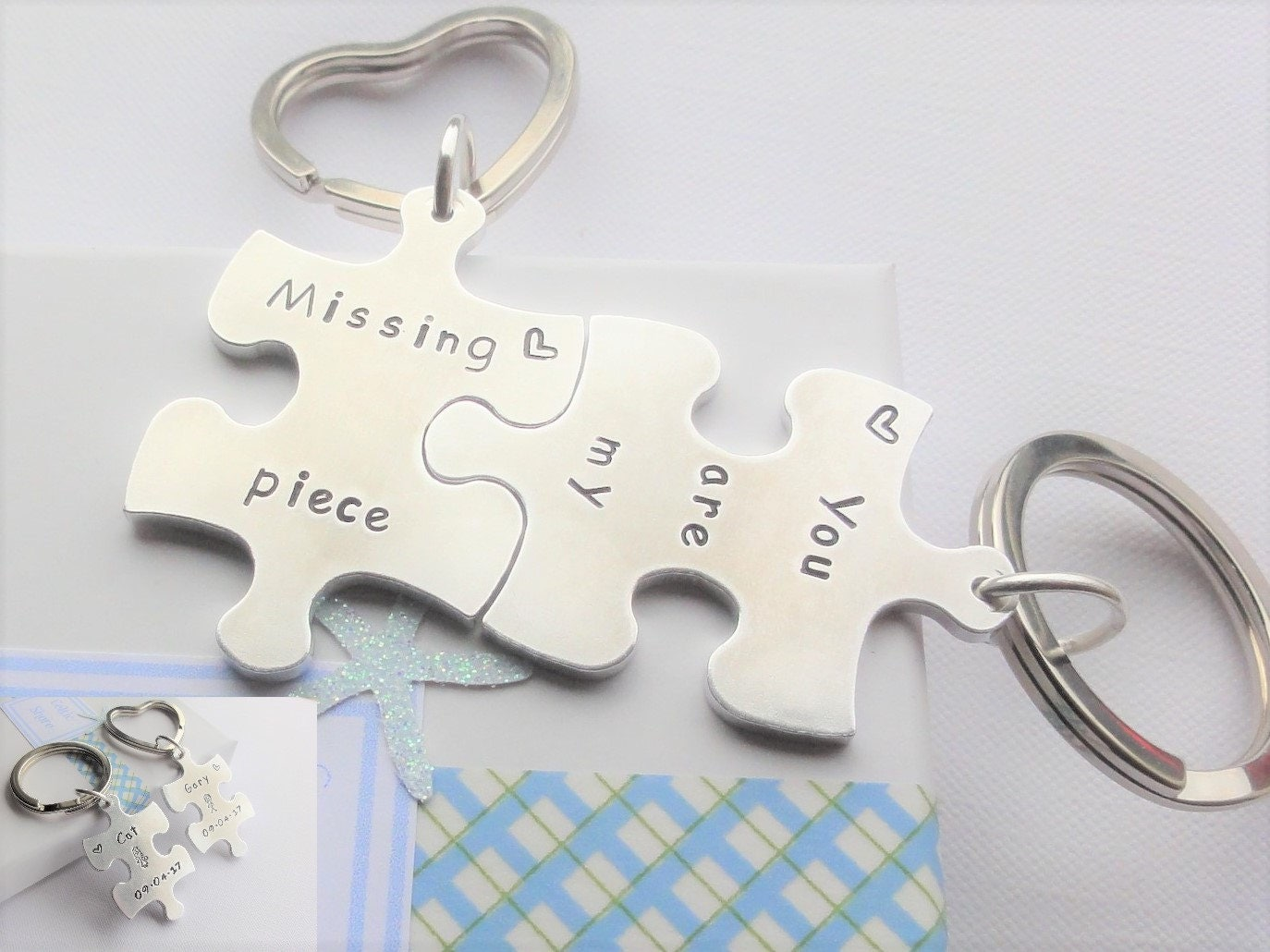 2 Personalised Interlocking Aluminum Puzzle Jigsaw Keyrings  Names Dates Designs Words  You are My Missing Piece