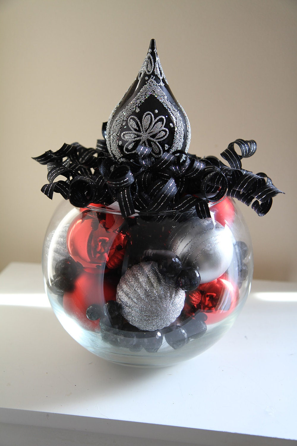 Unique christmas centerpiece black red and by