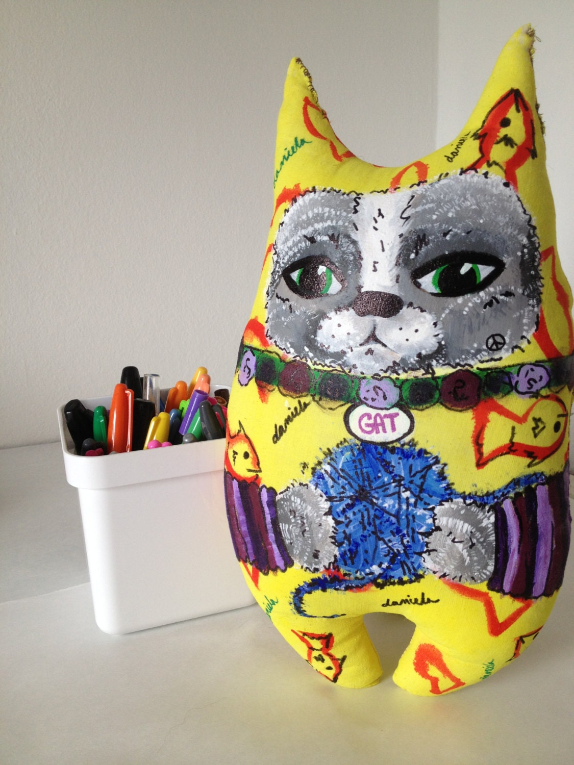 Gat the Cat Coixi - Yellow bodysuit with blue yarn ball - hand-painted soft sculpture doll - Coixi