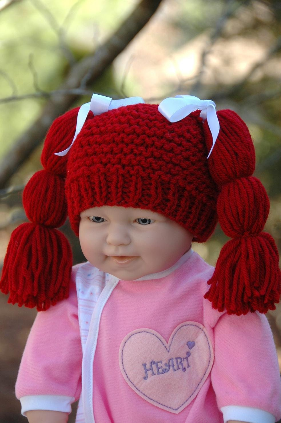 Knitting Pattern For Cabbage Patch Hat : Knit Baby Hat Cabbage Patch Inspired Red and White Bow by ...