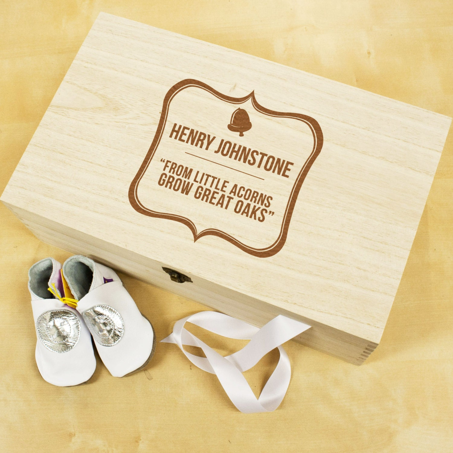 Personalised Baby Acorn Sentiment Keepsake Box  New Baby Gift  Made to Order  Baby Gift  Baby Boy  Baby Girl  FREE UK DELIVERY!