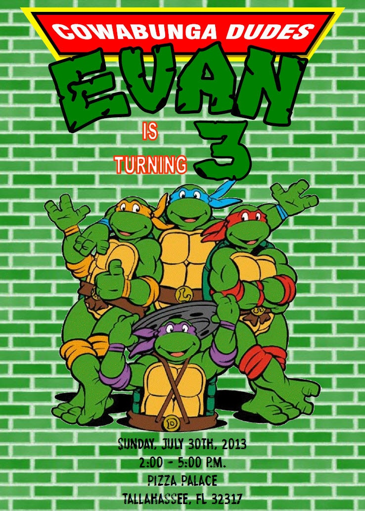 Teenage Mutant Ninja Turtles Invitations as perfect invitation layout
