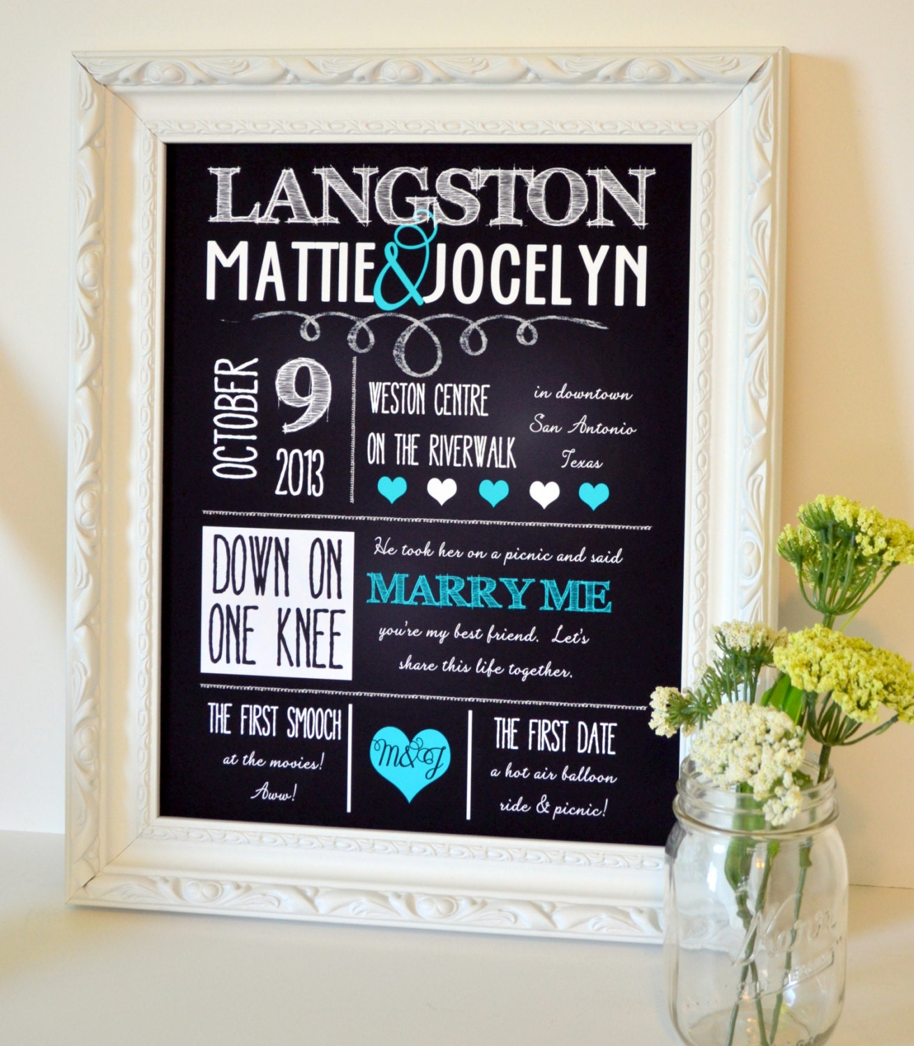 All about us chalkboard 8x10 print custom wedding by for Engagement decorations ideas at home