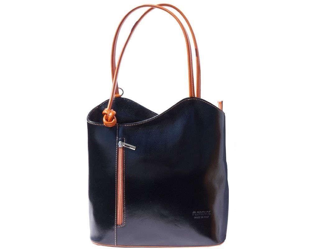 Italian handmade leather convertible shoulder bag backpack in black  tan