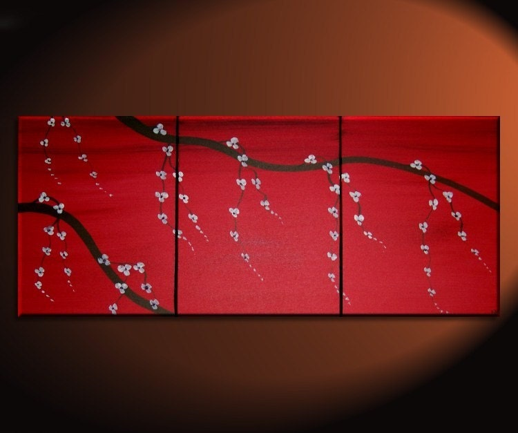 Red japanese cherry blossom painting simple strong by for Canvas painting of cherry blossoms