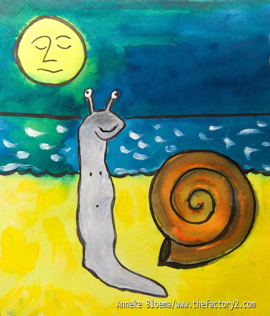 Tekening van een slak die gaat zwemmen in de zee/ Swimming Snail - wwwthefactory2com