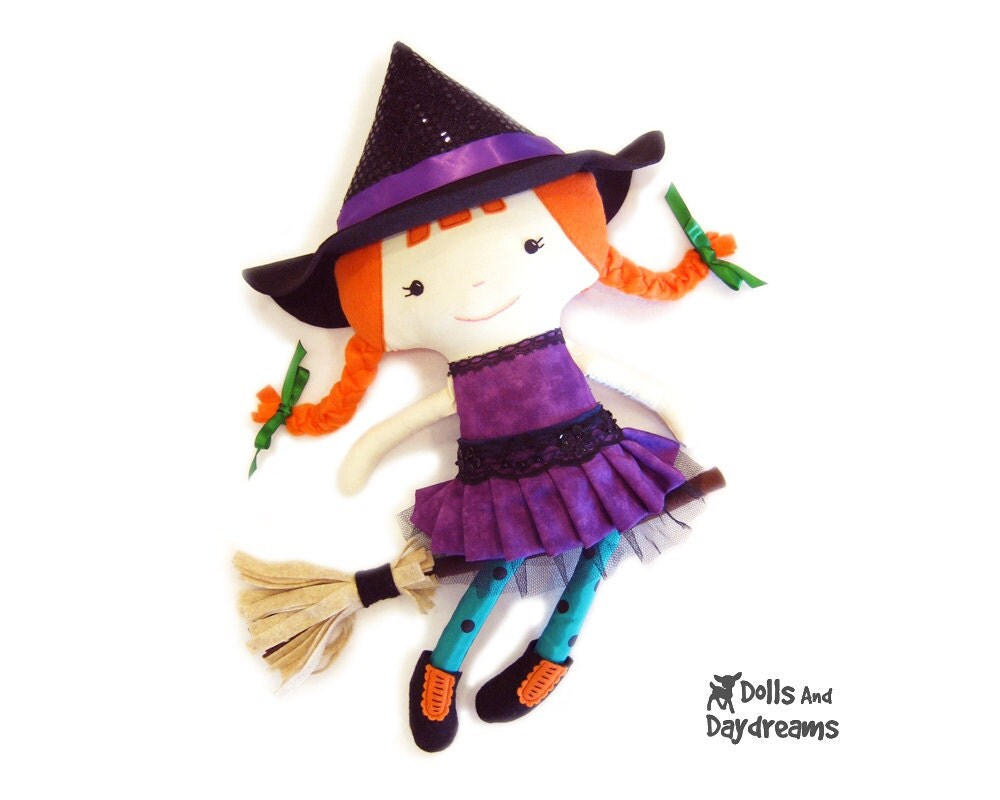 Witch Sewing Pattern PDF Cute Halloween Doll - skirt boots broomstick included - DollsAndDaydreams