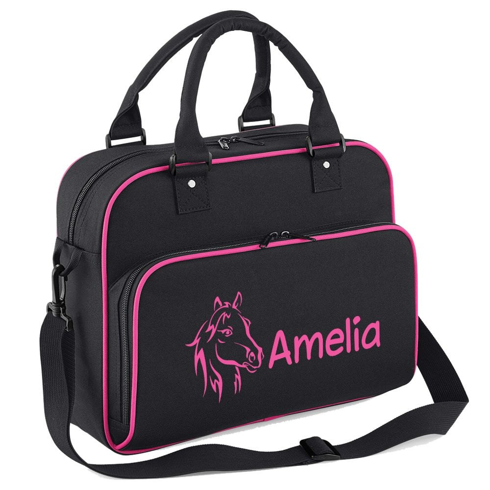 iClobber Personalised Horse Riding Girls Bag   Pony Head Design DB