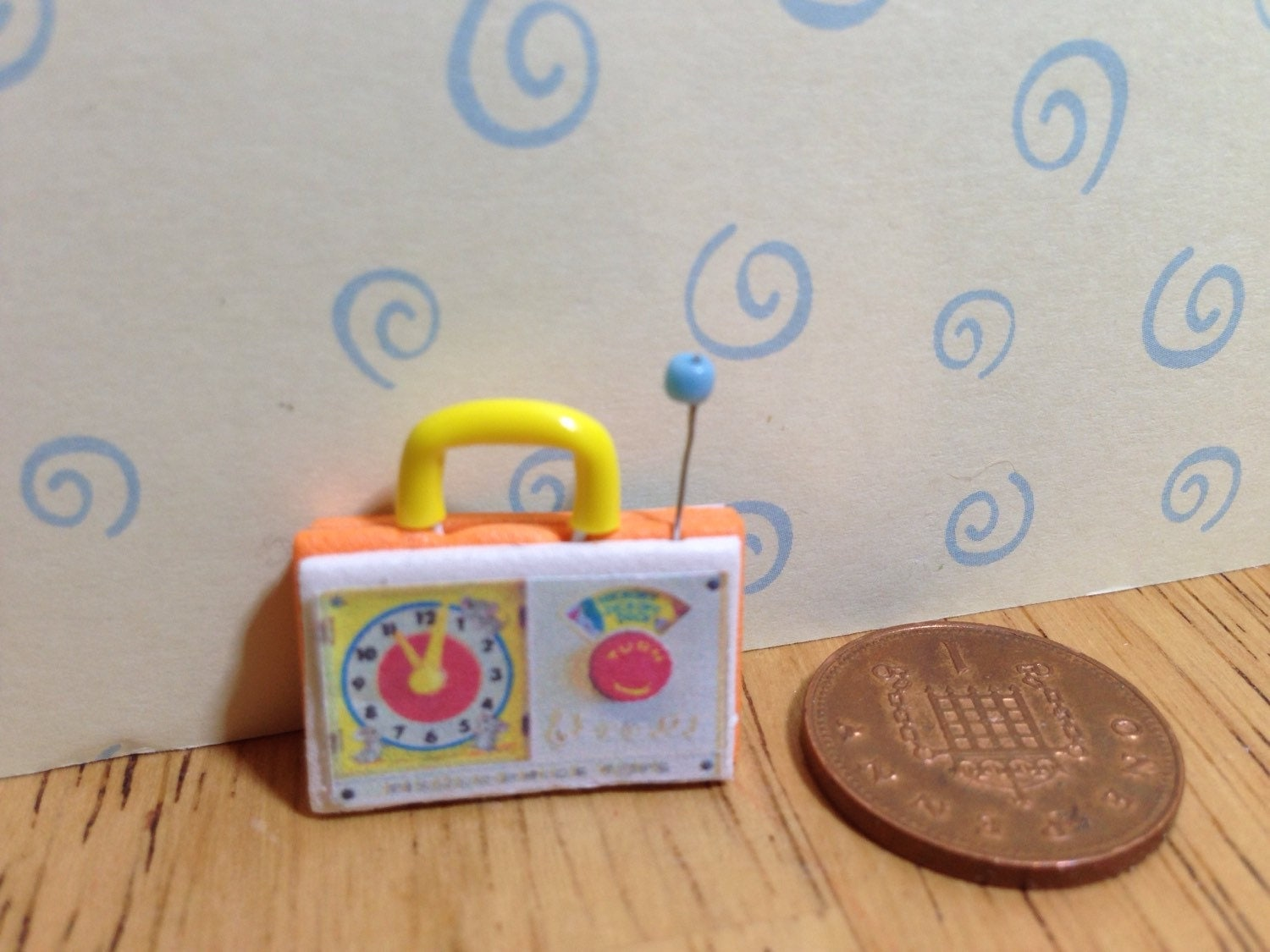 Hand made Dolls house Miniature replica vintage fisher price musical clock radio 112 scale