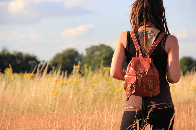 Tan Womens Leather Backpack Leather Rucksack Shoulder Bag Leather Bag Leather Pouch Satchel Fashion Backpack Mini Backpack