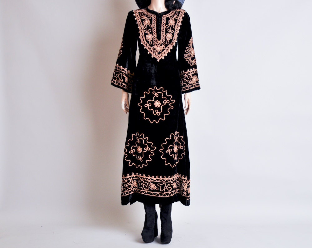 items similar to black velvet hippie indian dress maxi