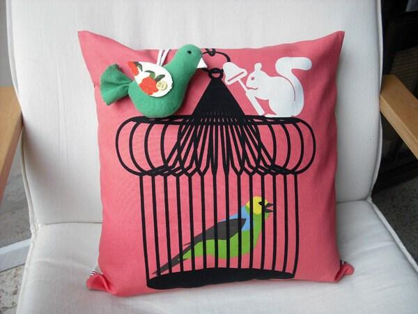 Decorative pillow and Handmade Decorative Bird-Throw pillow-Accent pillow- bird and squirrel-Pink pillow, Ready to ship