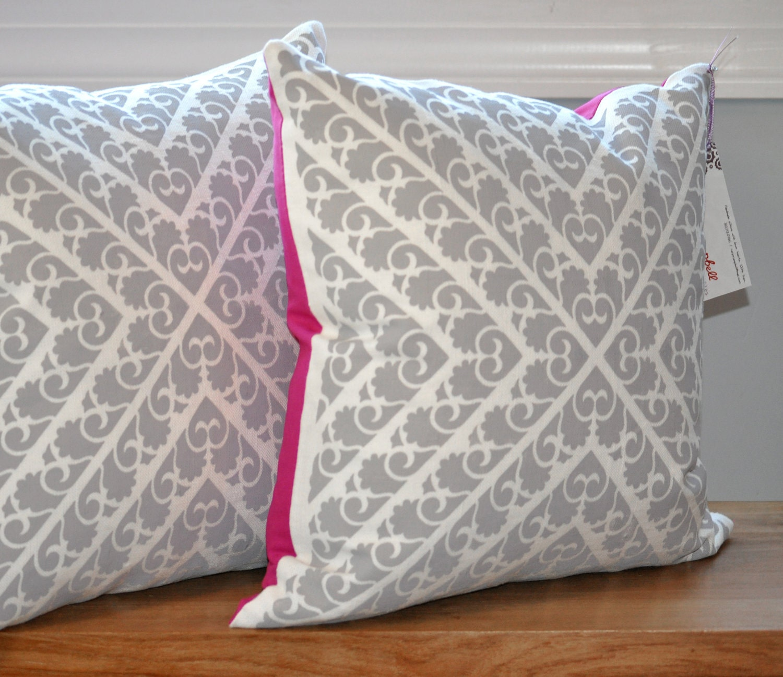 Chevron Pillow in Gray with Fuschia Back - caryncampbellshop