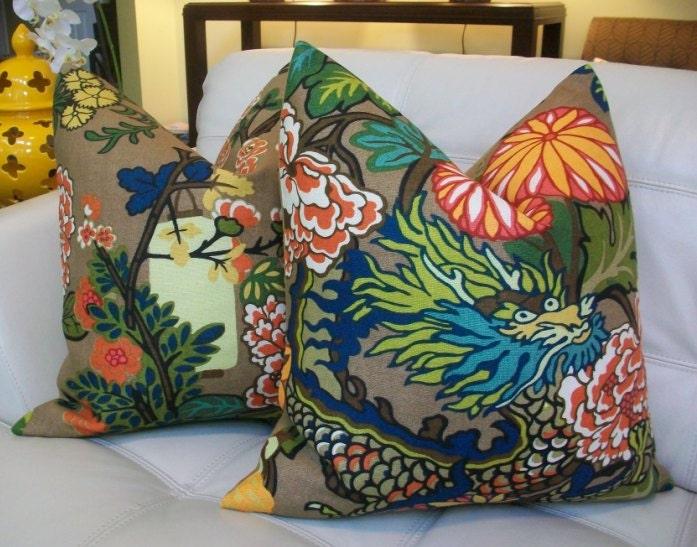 Custom listing - Decorative Designer  Pillow Cover - 20X20 - Schumacher Chiang Mai Dragon in Mocha
