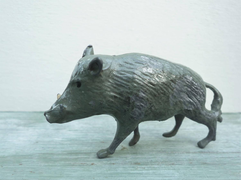Vintage Lead Animal Figure Britains HollowCast Toy Wild Boar Zoo Series 942