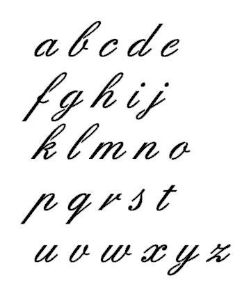 Alphabet letters in fancy cursive