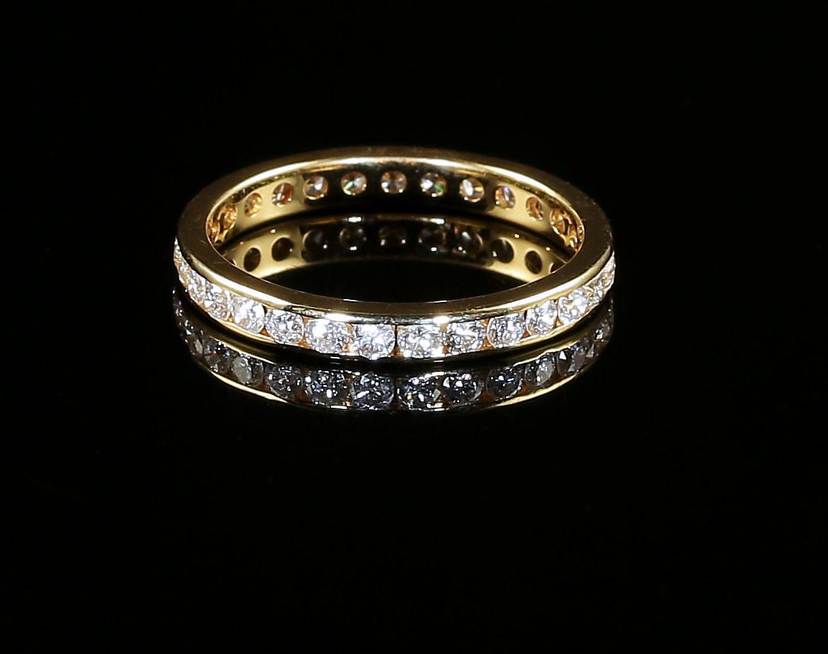 Antique Victorian Diamond Tension Set Eternity Ring 18ct Gold 1.5ct Diamond