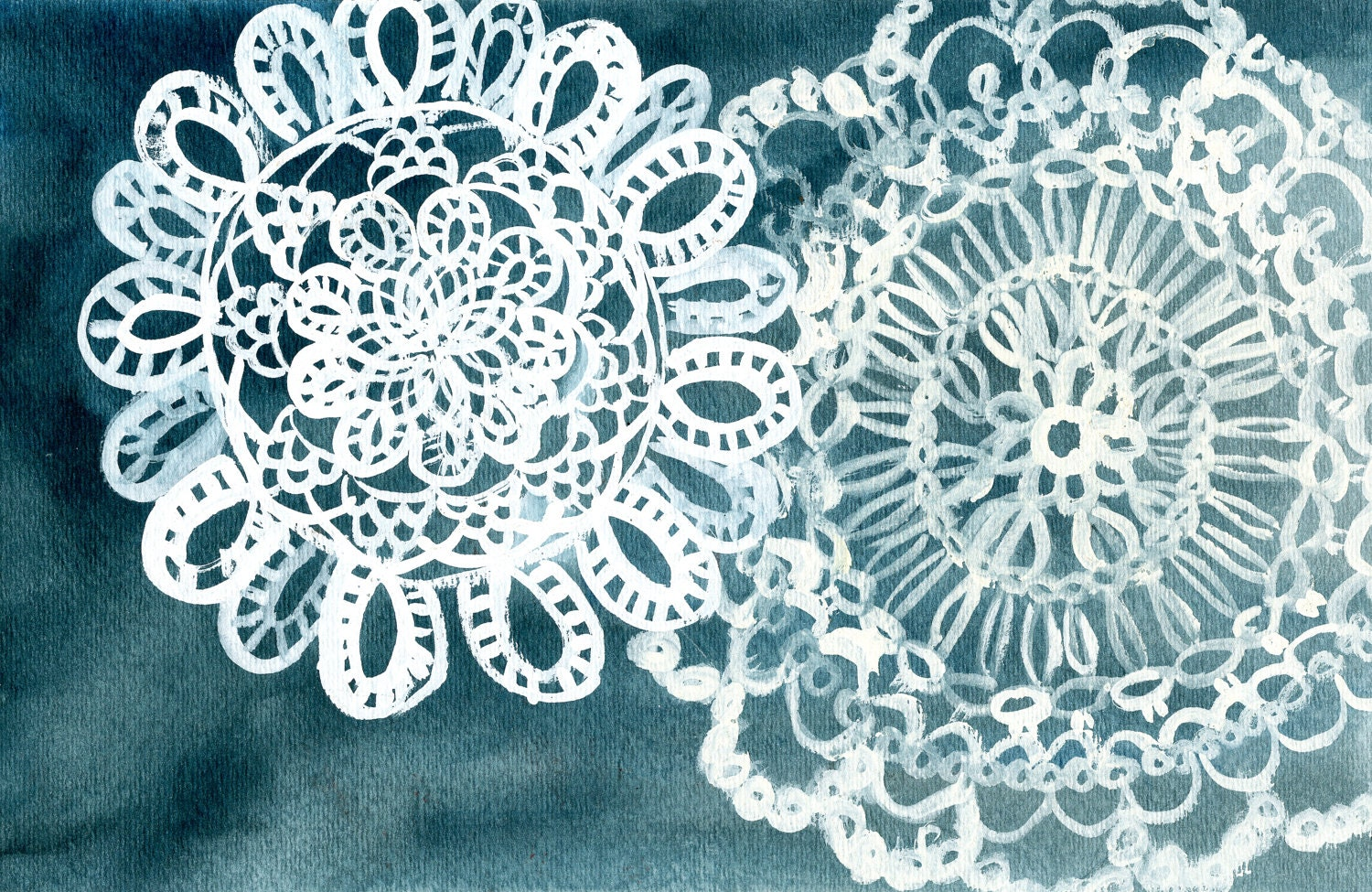 Doily Lace Pattern Print - Print of Doily Watercolor Painting 5x7 - FrancesMarin