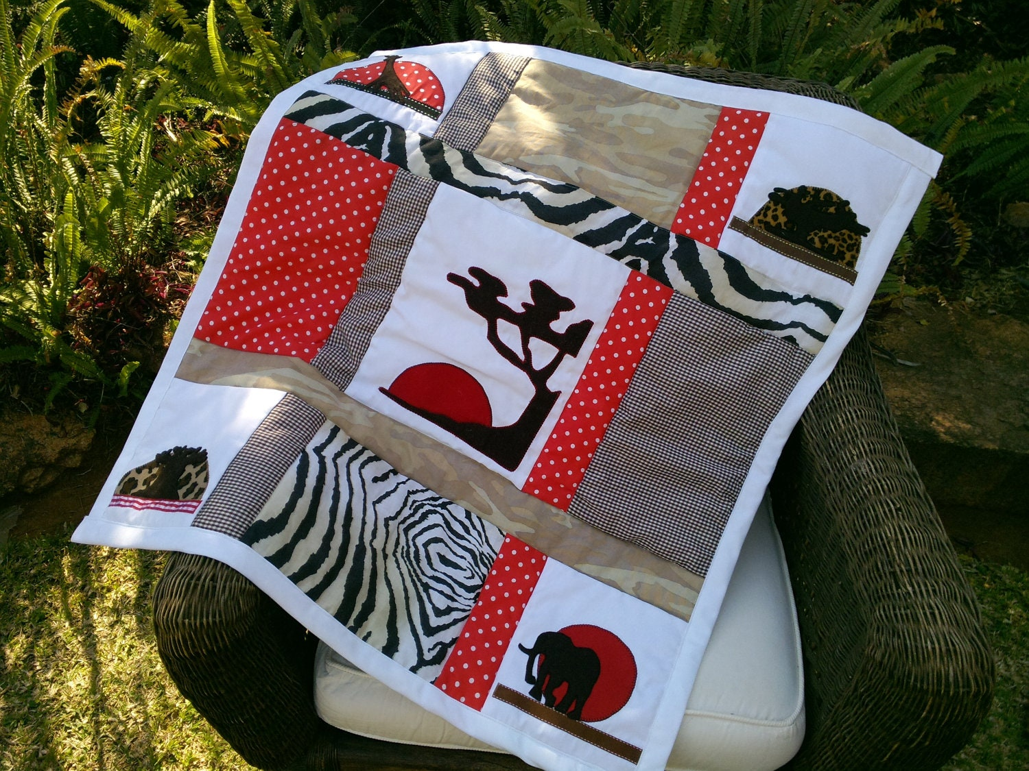 Handmade Quilt for Baby Bed or Wall Hanging, African Silhouette Design