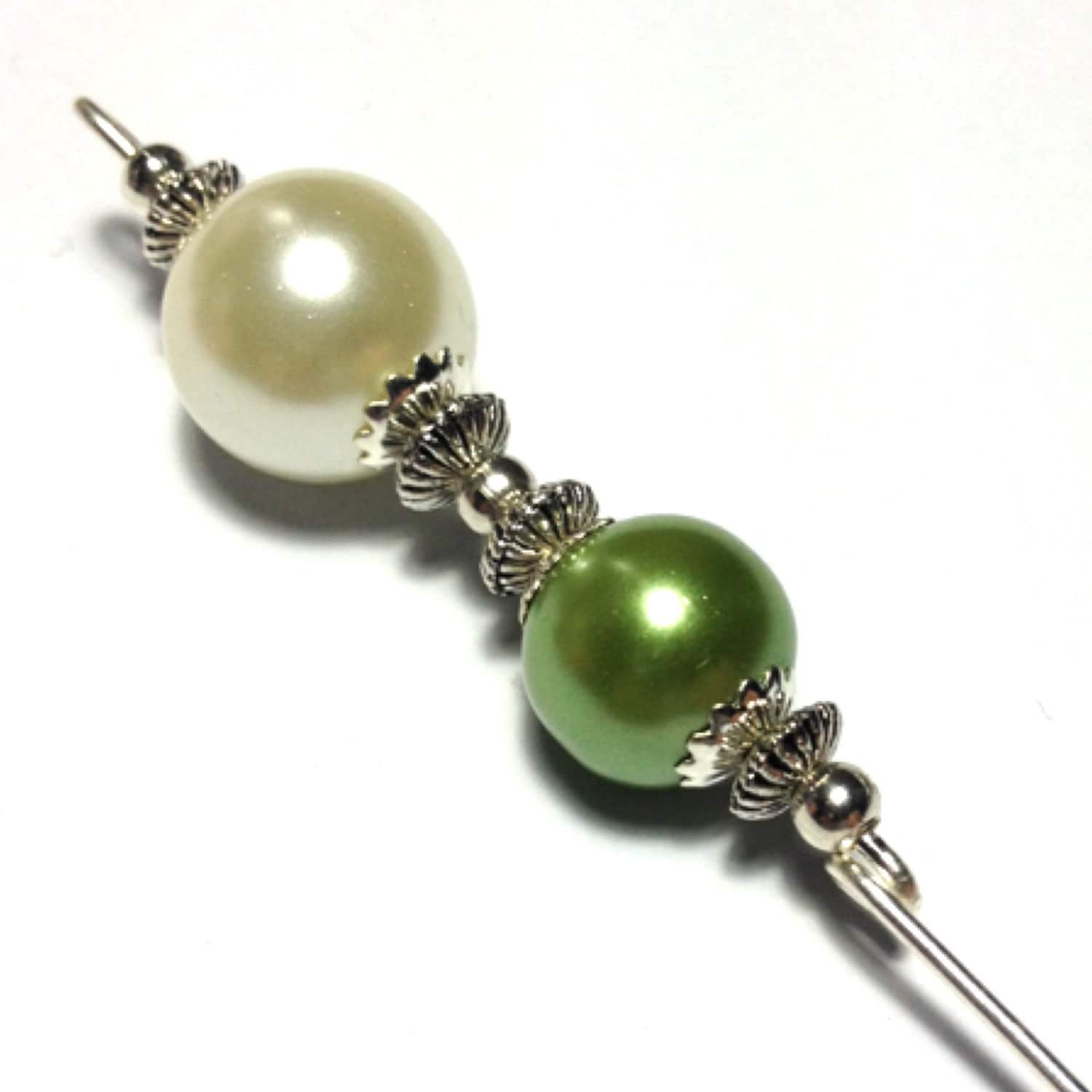 5 Green Glass Pearl Bead Hat Pin Vintage Tibetan Antique Silver Style  With End Protector (HP329)