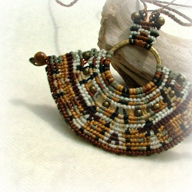 Earth tones goddess beaded macrame necklace - snake skin with jasper beads