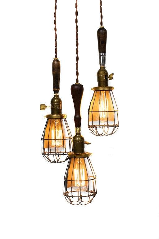 3 Light Caged Vintage Handle Trouble Light Chandelier - junkyardlighting