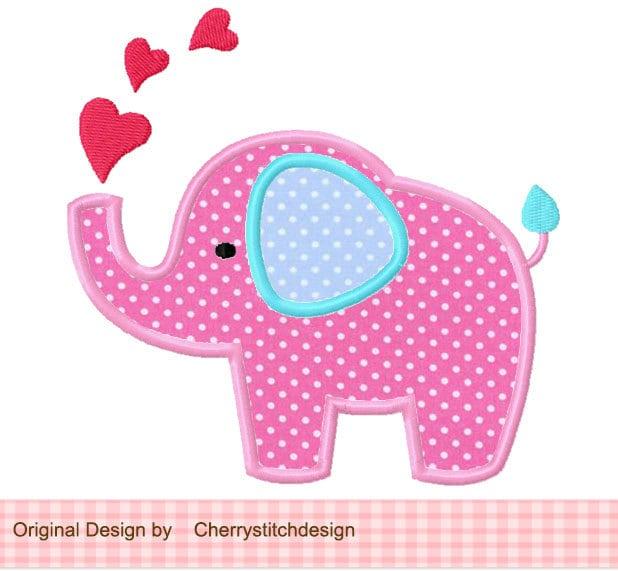 Heart Elephant Applique 4x4 5x7 By Cherrystitchdesign On Etsy