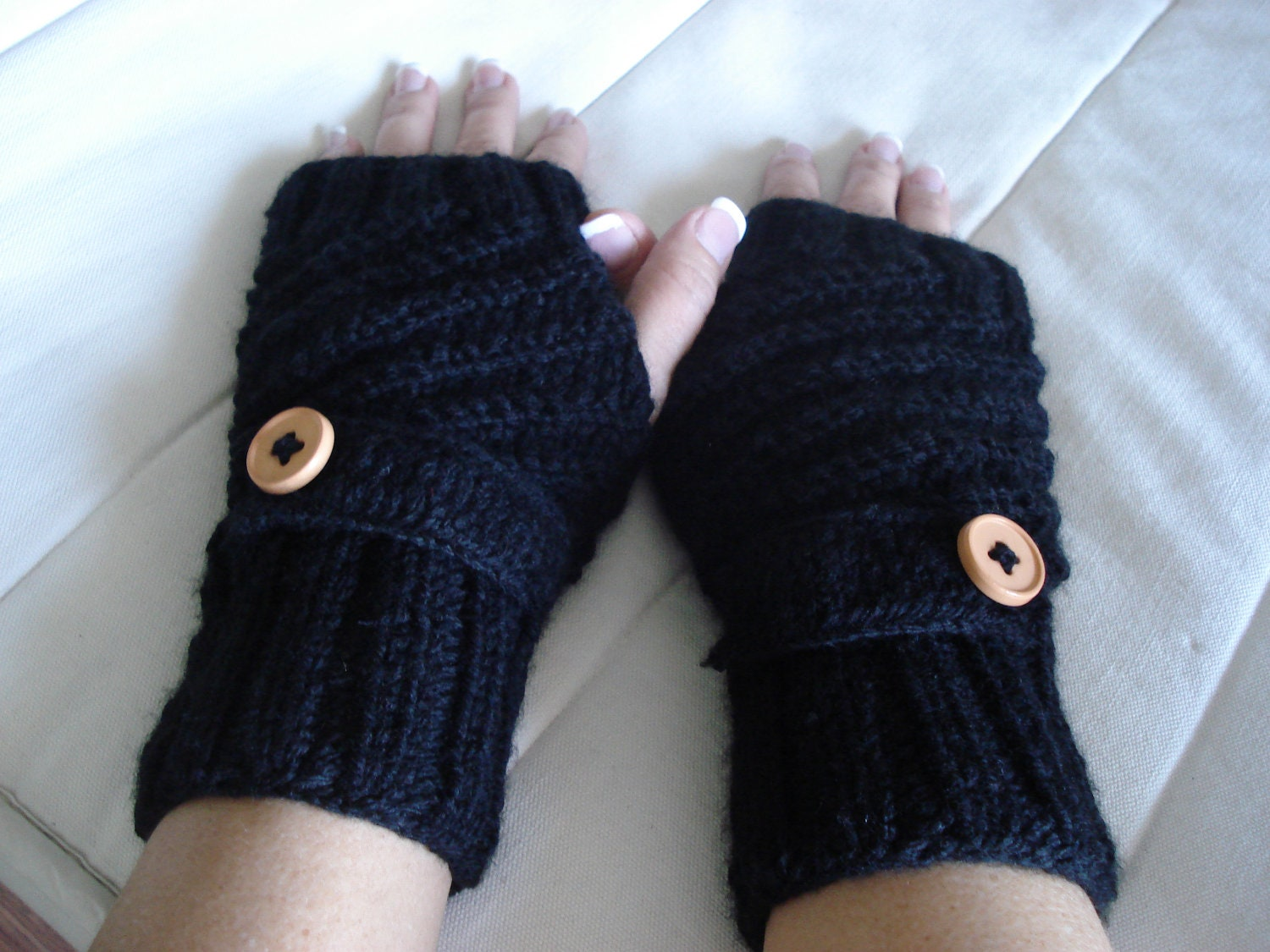 1pair Knitted button flap fingerless gloves by ...