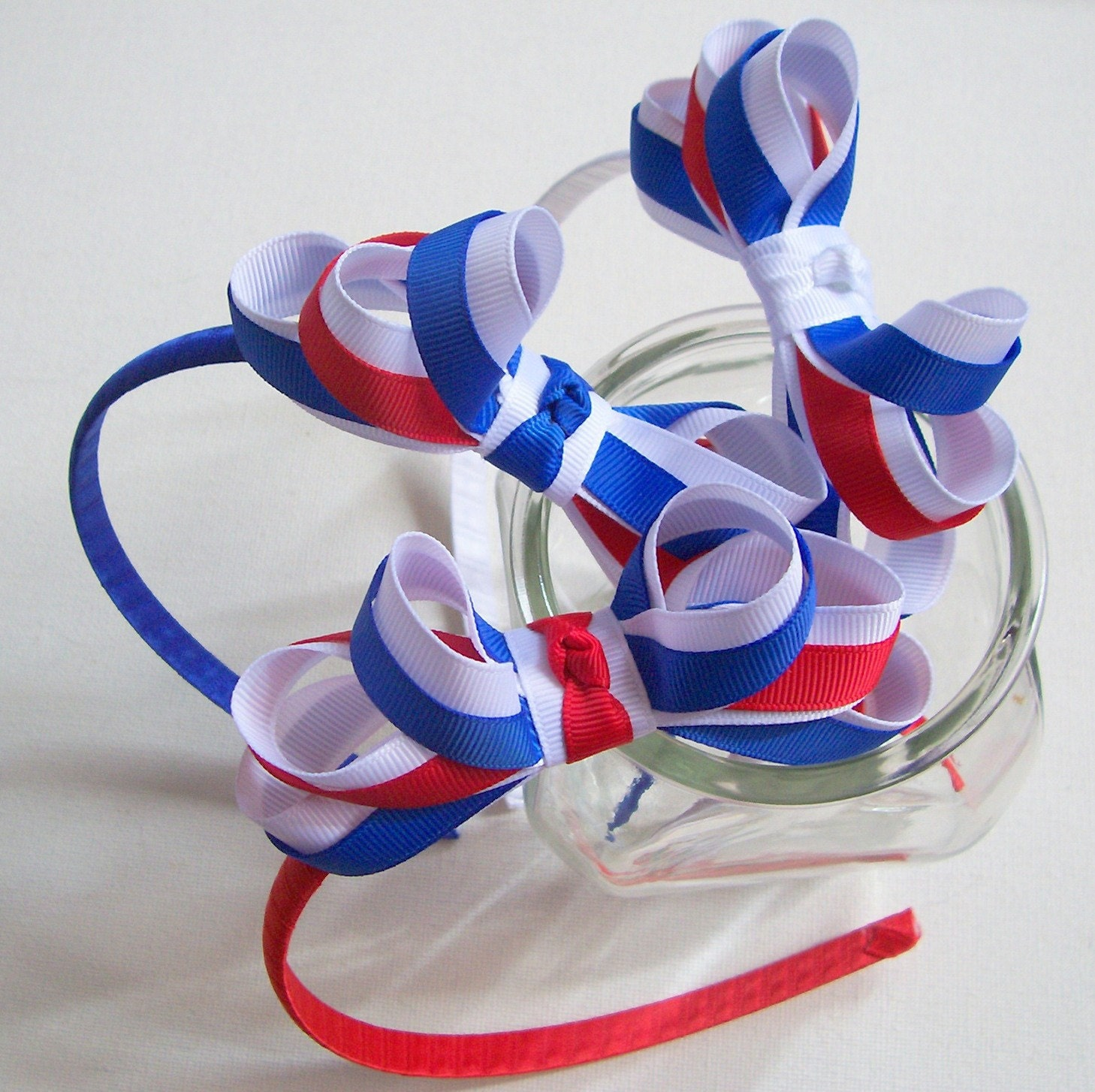 Patriotic Forth of July Headband - Red White & Blue Loopy Bow - IdleFingers