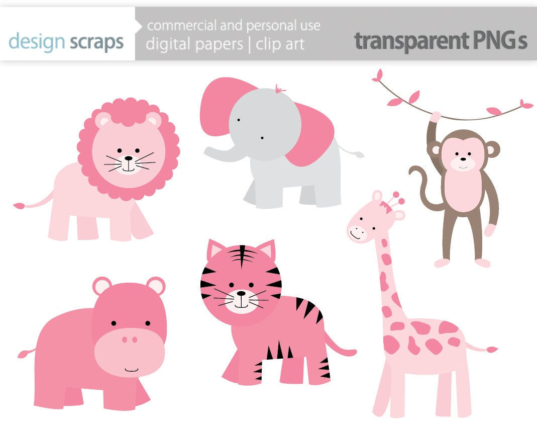 Zoo Animals Together Clipart baby girl clip art  pink wild