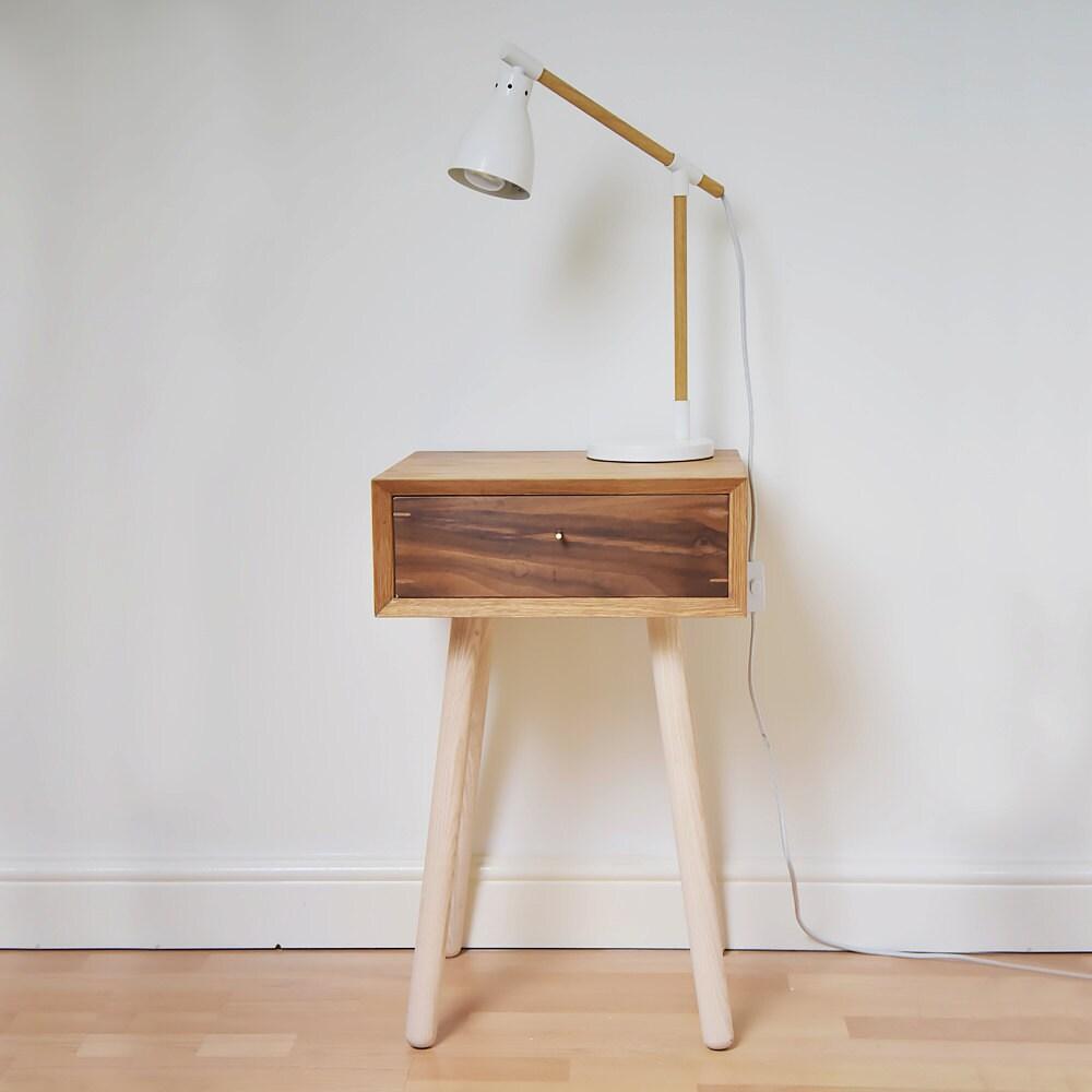 Retro Bedside Table Scandinavian Style Night Stand Midcentury Oak Bed Side Table Vintage Walnut Bedroom Furniture