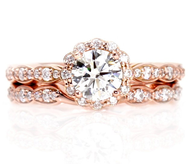 14K Rose Gold Moissanite Engagement Ring Wedding Set by RareEarth