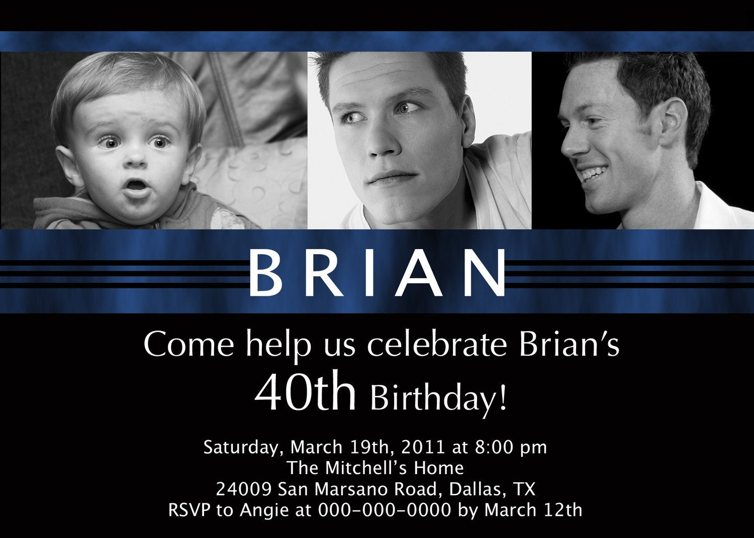 40th Birthday Personalized Photo Invitation By