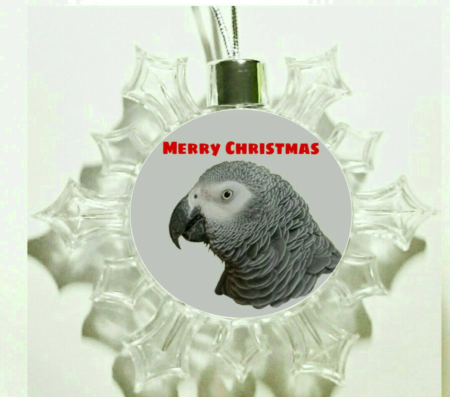 African Grey Parrot Congo Bird Hanging Snowflake Christmas Ornament Bauble Decoration