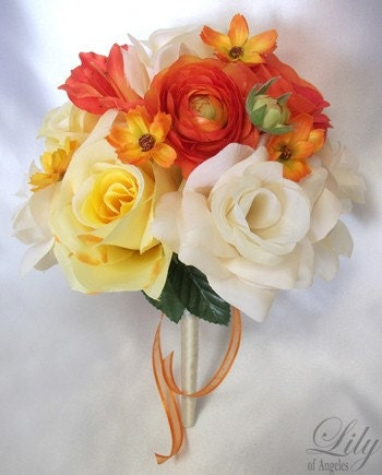 Flower Wedding Decoration Bridal Bouquet ORANGE YELLOW Lily Of Angeles