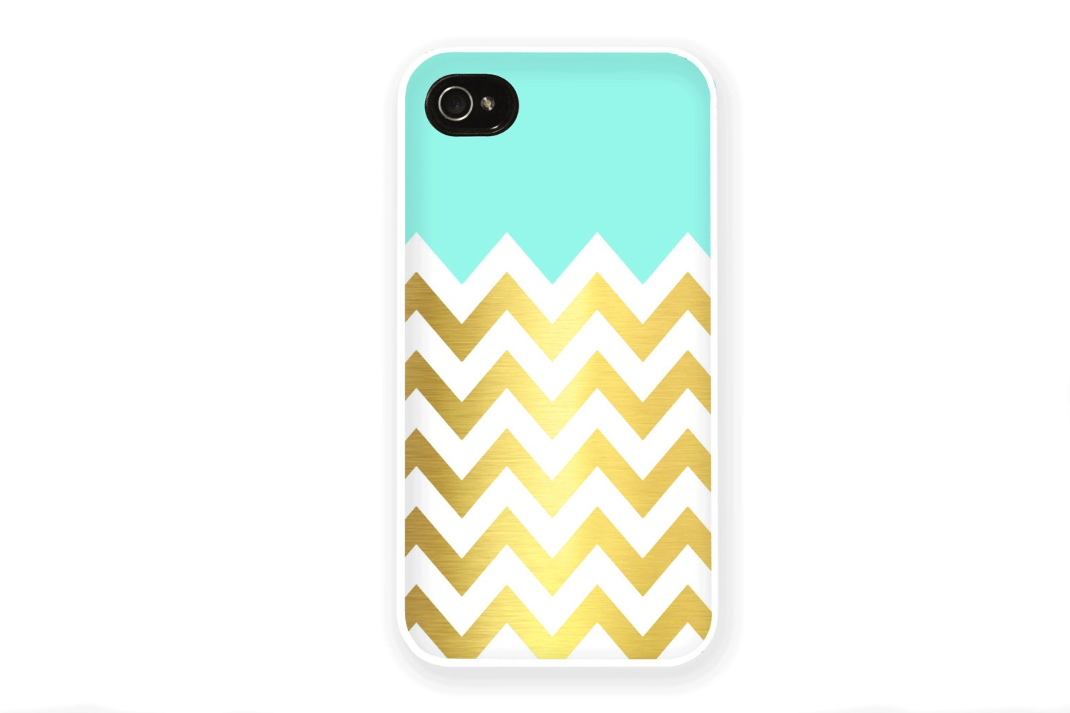 Mint and Gold Chevron iPhone Case / Mint Green and Faux Gold iPhone 4 4S 5 Case iphone 4 Case iPhone 5 Case Silicone Hard Plastic - afterimages