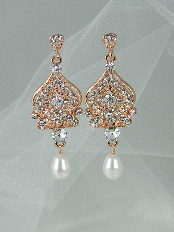 Rose Gold Crystal Bridal Pearl Earrings, Long Swarovski Crystal wedding earrings Rhinestone Bridesmaids, Alexandra Chandelier Earrings