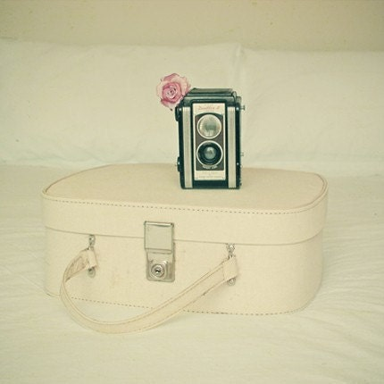 "Vintage camera photograph - Suitcase, flower, pink rose, pastel colours, for her, home decor - Travels With my Camera 8x8"" Print"
