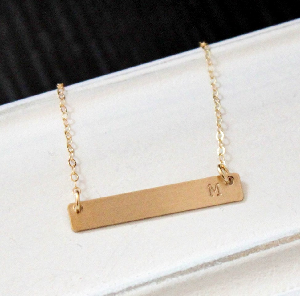 gold bar necklace gold initial necklace by thesilverwren