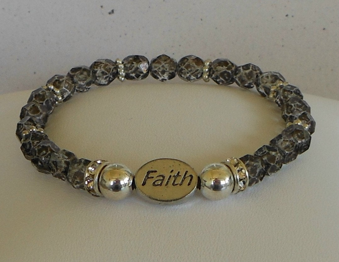 Message Bead Faith Bracelet in Black