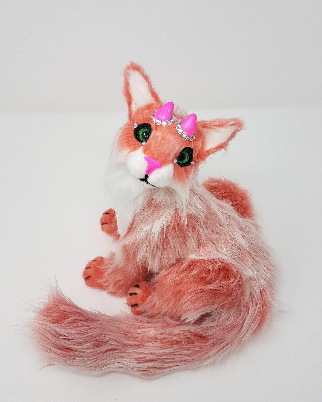 Poseable art doll animal  Handmade  ooak  fantasy animal  pink cat  kitten  fantasy cat  fantasy creature  animal art doll