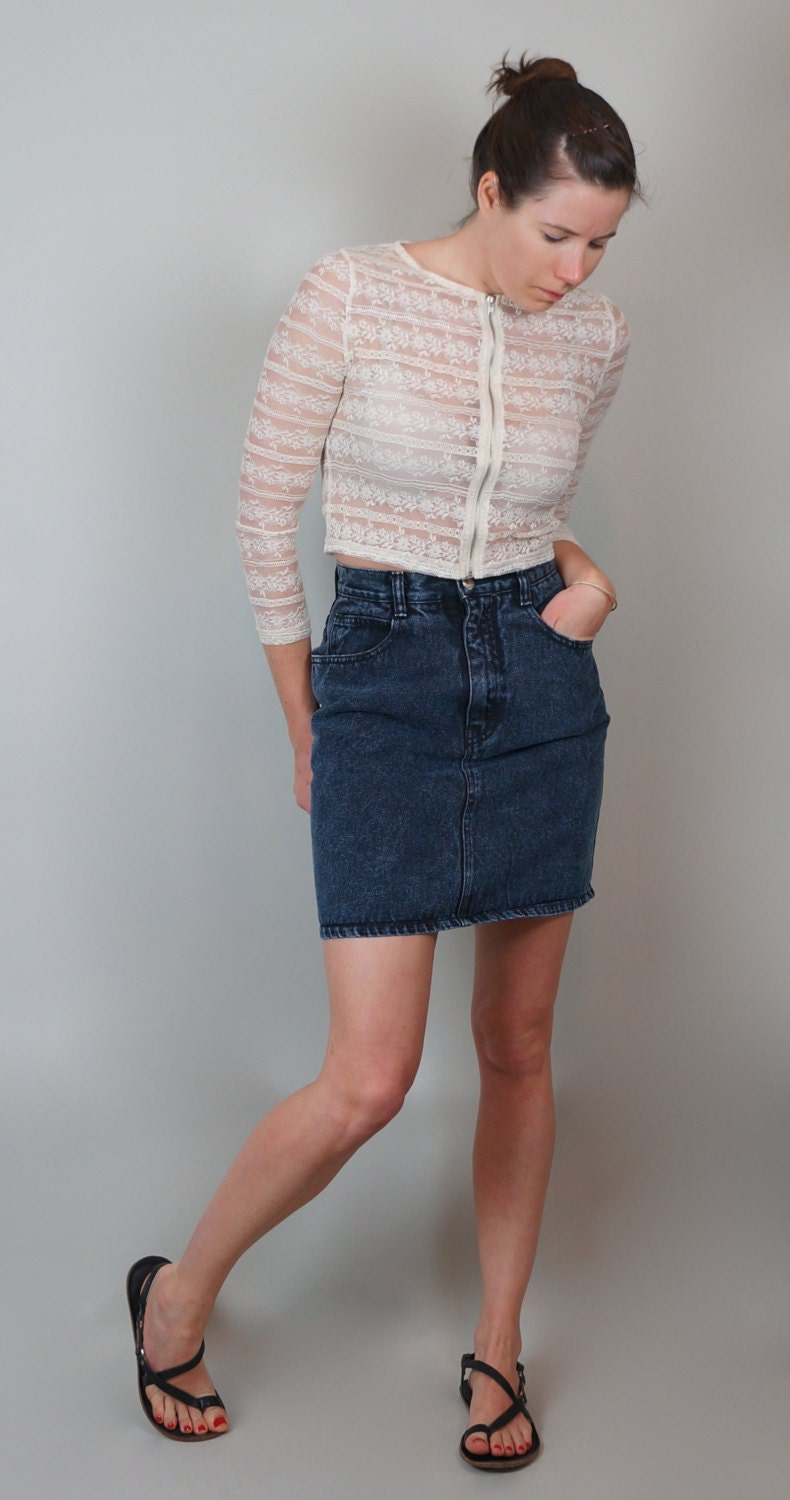 high waisted faded black denim jean skirt by