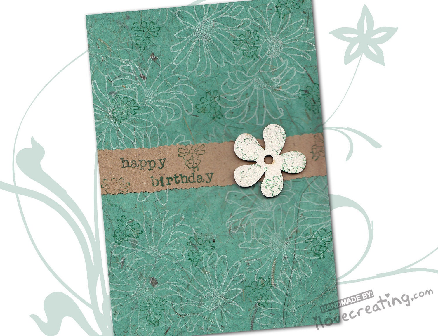 Personalized HAPPY BIRTHDAY CARD Handmade Mint color Greeting Card with flower wooden shape - ilovecreatingcards