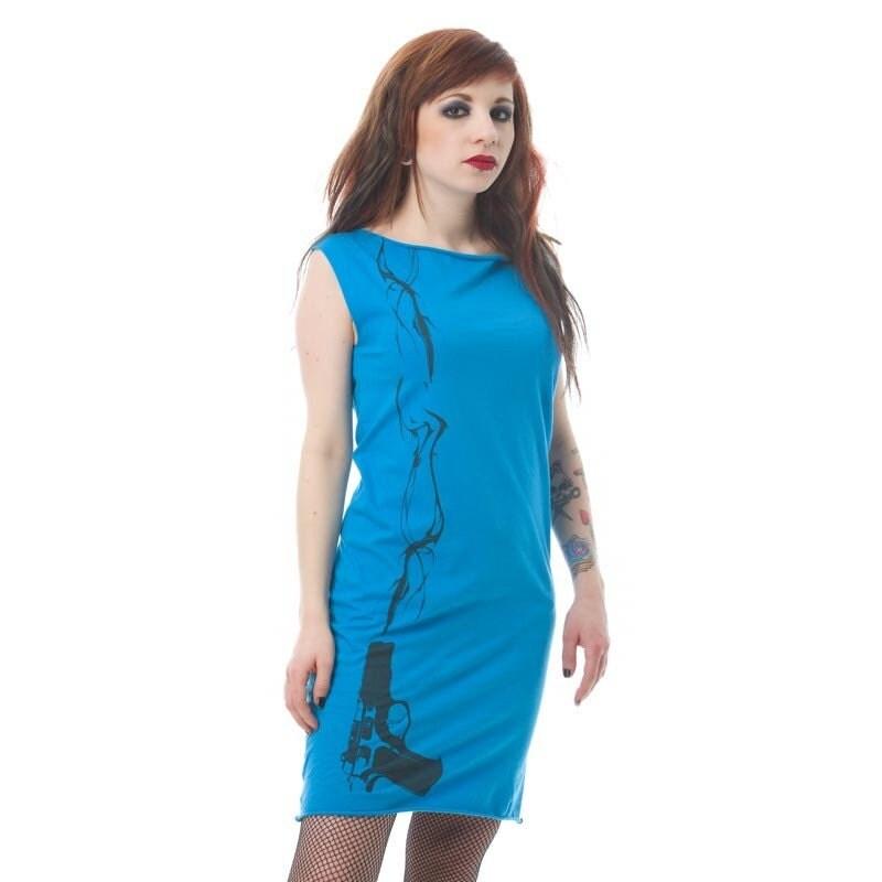 Smoking Gun Print Blue Mini Dress Tunic S M L