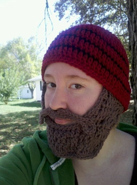 Beanie Hat With Beard Crochet Pattern Free : PDF Crochet Pattern Beard Beanie Crochet by browneyedgirl1489